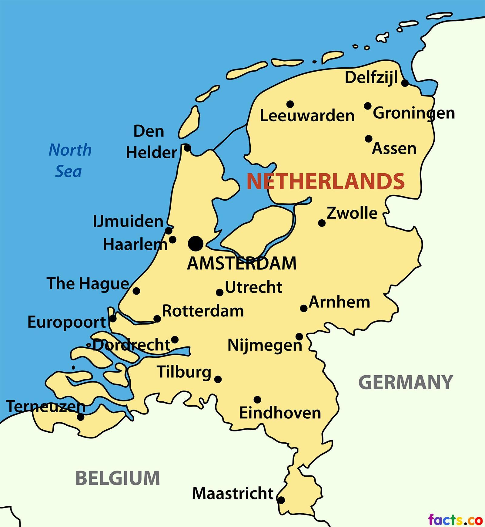holandija mapa Holandija grad mapu   Mapa Holandije gradova (Zapadne Europe   Evropi) holandija mapa
