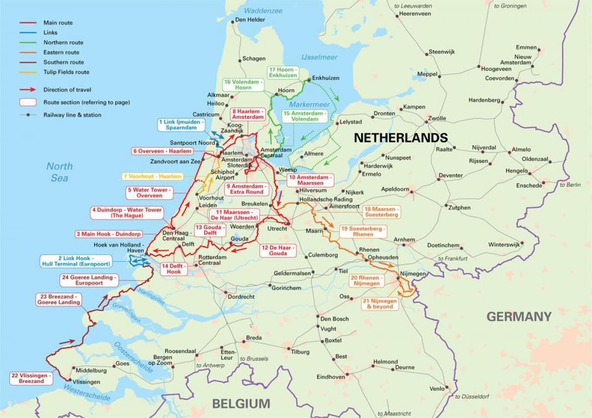 Holandija Biciklizma Mapu Holandije Ciklus Rute Mapu Zapadne