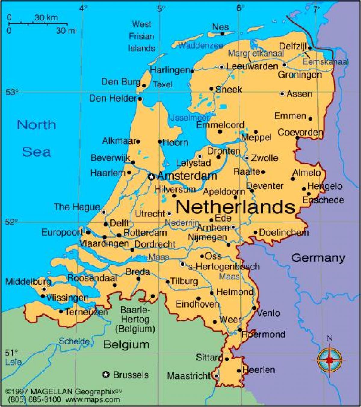 holandija mapa Holandija gradova mapu   Mapa Holandije sa gradovima (Zapadne  holandija mapa