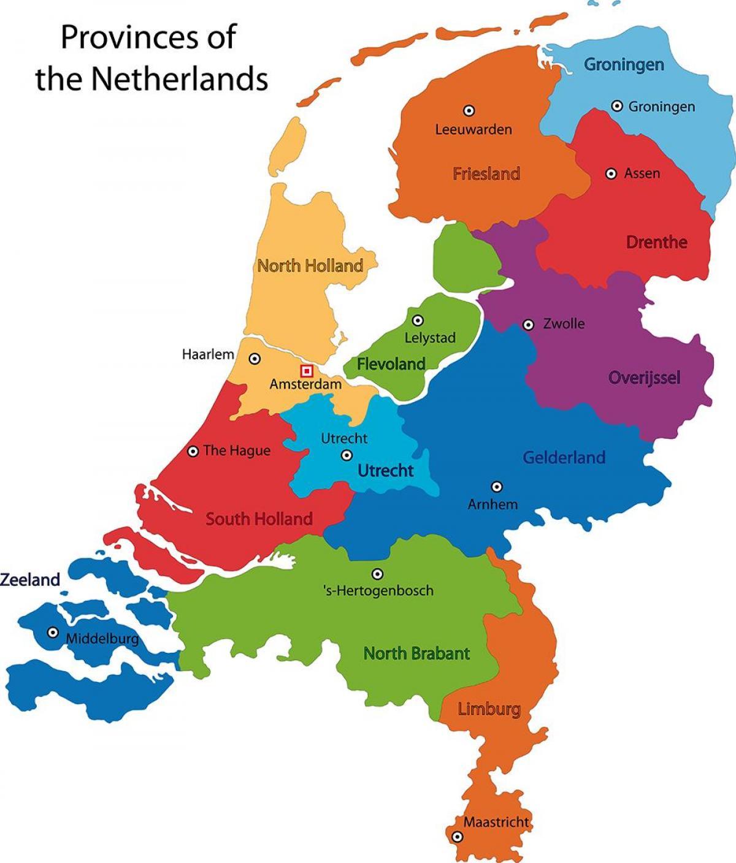 Holandija Provincije Mapu Mapa Holandije Provincije Zapadne